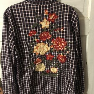 Floral embroidered flannel shirt